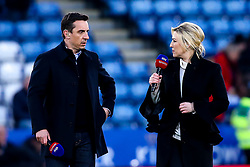 Sky Sports Presenter Kelly Cates has an animated conversation with pundit and former Manchester United and England defender Gary Neville - Mandatory by-line: Robbie Stephenson/JMP - 12/04/2019 - FOOTBALL - King Power Stadium - Leicester, England - Leicester City v Newcastle United - Premier League