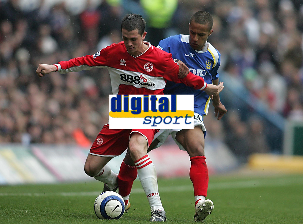 Photo: Lee Earle.<br /> Portsmouth v Middlesbrough. The Barclays Premiership. 15/04/2006. Boro's Andrew Taylor (L) holds off Wayne Routledge.