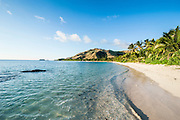 White sandy beach, Oarsman Bay, Yasawas, Fiji, South Pacific
