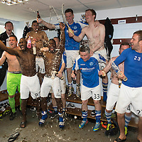 St Johnstone v Motherwell.....19.05.13      SPL<br /> St Johnstone players celebrate a in the dressing room<br /> Picture by Graeme Hart.<br /> Copyright Perthshire Picture Agency<br /> Tel: 01738 623350  Mobile: 07990 594431
