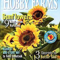 Sunflower photos on cover of Hobby Farms magazine July/Aug 2012
