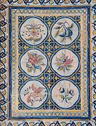 painted tiles of fruit, vegetables and birds inside the Mercado da Ribeira, Cais do Sodre, Lisbon, Portugal