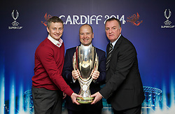 +++ FREE USE FOR STORIES PROMOTING THE UEFA SUPER CUP 2014 ONLY +++<br /> <br /> CARDIFF, WALES - Monday, February 17, 2014: Former Wales captain Kevin Ratcliffe [R] FAW Chief-Executive Jonathan Ford [C] and Cardiff City manager manager Ole Gunnar Solskj&aelig;r [L] launch the UEFA Super Cup 2014 which will be played at the Cardiff City Stadium on 12th August. (Pic by David Rawcliffe/Propaganda)