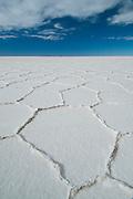 Hexagonal shapes, Salar de Uyuni salt flat