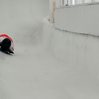 27 February 2007:  Michelle Kelly of Canada slides through curve 13 in the 4th run at the Women's Skeleton World Championships competition on February 27 at the Olympic Sports Complex in Lake Placid, NY.