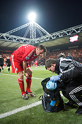 PRESTON, ENGLAND - Saturday, January 3, 2009: Liverpool's Jamie Carragher and Senior Physiotherapist Rob Price during the FA Cup 3rd Round match at Deepdale. (Photo by David Rawcliffe/Propaganda)