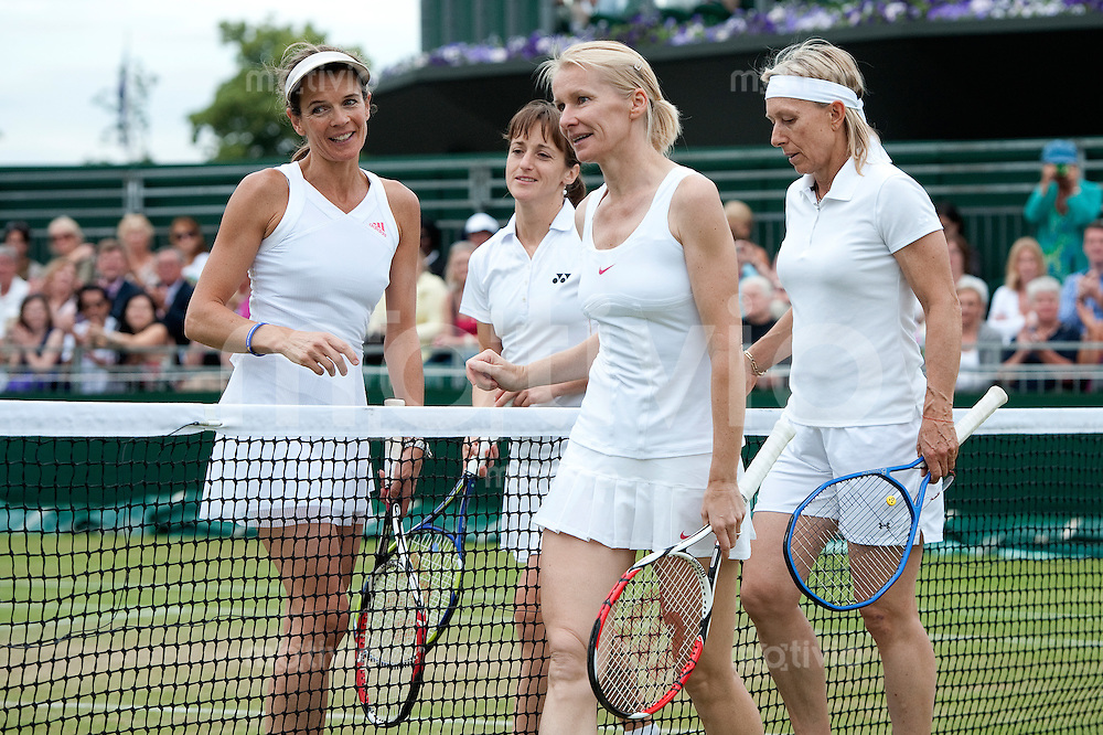 Martina Navratilova (USA) and Jana Novotna (CZE) play against Annabel Croft (GBR) and Magdalena Maleeva (BUL) on Court 12. The Wimbledon Championships 2010 The All England Lawn Tennis & Croquet Club  Day 10 Thursday 01/07/2010