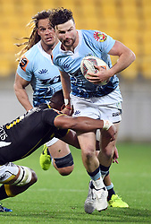 Northland's Dan Hawkins taken in a Wellington tackle in the Mitre 10 Rugby match at Westpac Stadium, Wellington, New Zealand, Thursday, October 12 2017. Credit:SNPA / Ross Setford  **NO ARCHIVING**