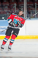 KELOWNA, CANADA - SEPTEMBER 20: Carter Rigby #11 of Kelowna Rockets warms up against the Kamloops Blazers on September 20, 2014 at Prospera Place in Kelowna, British Columbia, Canada.   (Photo by Marissa Baecker/Shoot the Breeze)  *** Local Caption *** Carter Rigby;