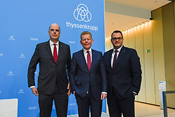 Germany, Essen - November 21, 2018.Thyssenkrupp yearly balance news conference .From left Donatus Kaufmann, Guido Kerkhoff and Oliver Burkhard  (Credit Image: © Sepp Spiegl/Ropi via ZUMA Press)