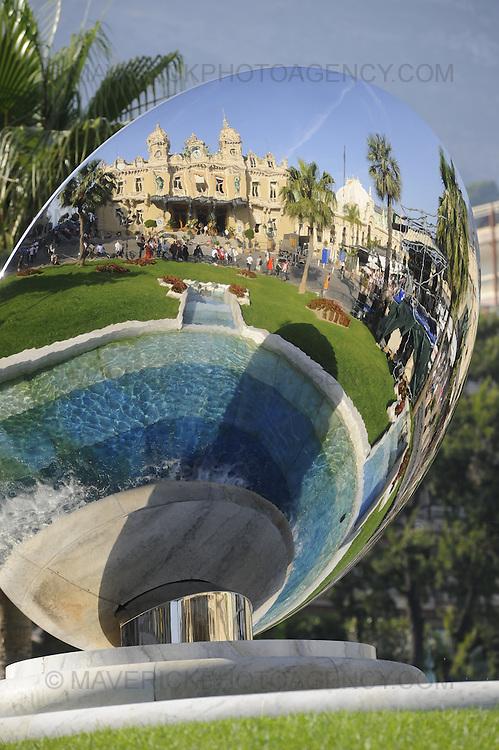 General view of a reflection in a sculpture at Casino Square in Monaco, Monte Carlo.
