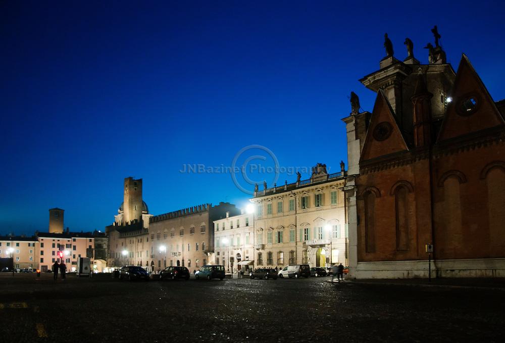 Night illumination in the Piazza Sordello - Mantua, Italy