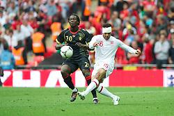 LONDON, ENGLAND - Saturday, June 2, 2012: England's Joleon Lescott in action against Belgium's Romelu Lukaku during the International Friendly match at Wembley. (Pic by David Rawcliffe/Propaganda)
