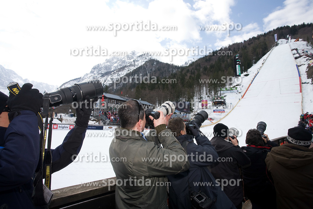 Photographers at Flying Hill Team in 3rd day of 32nd World Cup Competition of FIS World Cup Ski Jumping Final in Planica, Slovenia, on March 21, 2009. (Photo by Vid Ponikvar / Sportida)