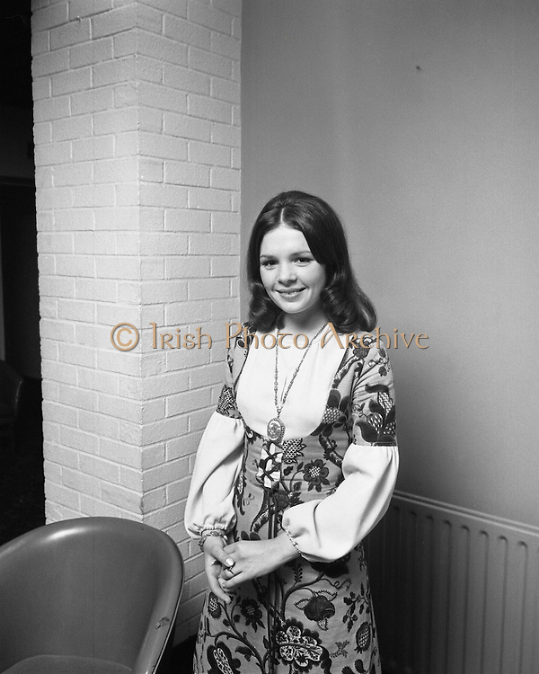 "Dana at Jurys Hotel..1971..31.03.1971..03.31.1971..31st March 1971..When ""All Kinds Of Everything"" sung by Dana (Rosemary Scallon) won the 1970 Eurovision Song Contest it meant that Ireland would be the next host for the competition. Dana was catapulted into instant celebrity and was now using this celebrity to promote this years' contest which is to be held in The Gaiety Theatre,Dublin..A portrait of Dana taken at Jury's Hotel,Dublin. Dana was part of the team promoting the Eurovision Song Contest."