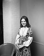 """Dana at Jurys Hotel..1971..31.03.1971..03.31.1971..31st March 1971..When """"All Kinds Of Everything"""" sung by Dana (Rosemary Scallon) won the 1970 Eurovision Song Contest it meant that Ireland would be the next host for the competition. Dana was catapulted into instant celebrity and was now using this celebrity to promote this years' contest which is to be held in The Gaiety Theatre,Dublin..A portrait of Dana taken at Jury's Hotel,Dublin. Dana was part of the team promoting the Eurovision Song Contest."""