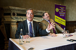 Pictured: <br /> UKIP leader Nigel Farage visited Edinburgh today to launch his party's Scottish Parliament election manifesto along side David Coburn. <br /> Ger Harley | EEm 7 April 2016