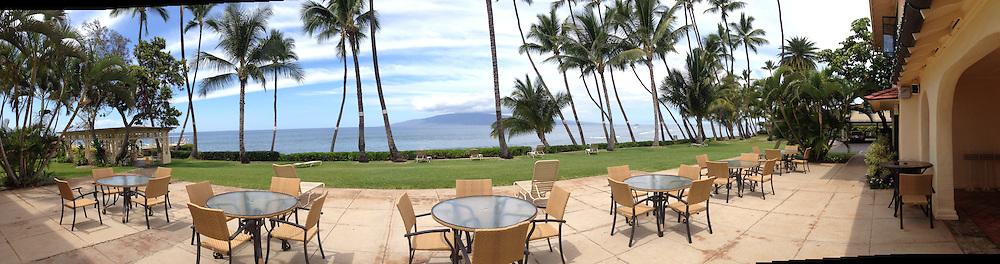Lanai and Maui Channel from Patio at Puamana Clubhouse, Lahaina, Maui, Hawaii, US