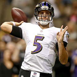 Nov 24, 2014; New Orleans, LA, USA; Baltimore Ravens quarterback Joe Flacco (5) prior to kickoff of a game against the New Orleans Saints at the Mercedes-Benz Superdome. Mandatory Credit: Derick E. Hingle-USA TODAY Sports
