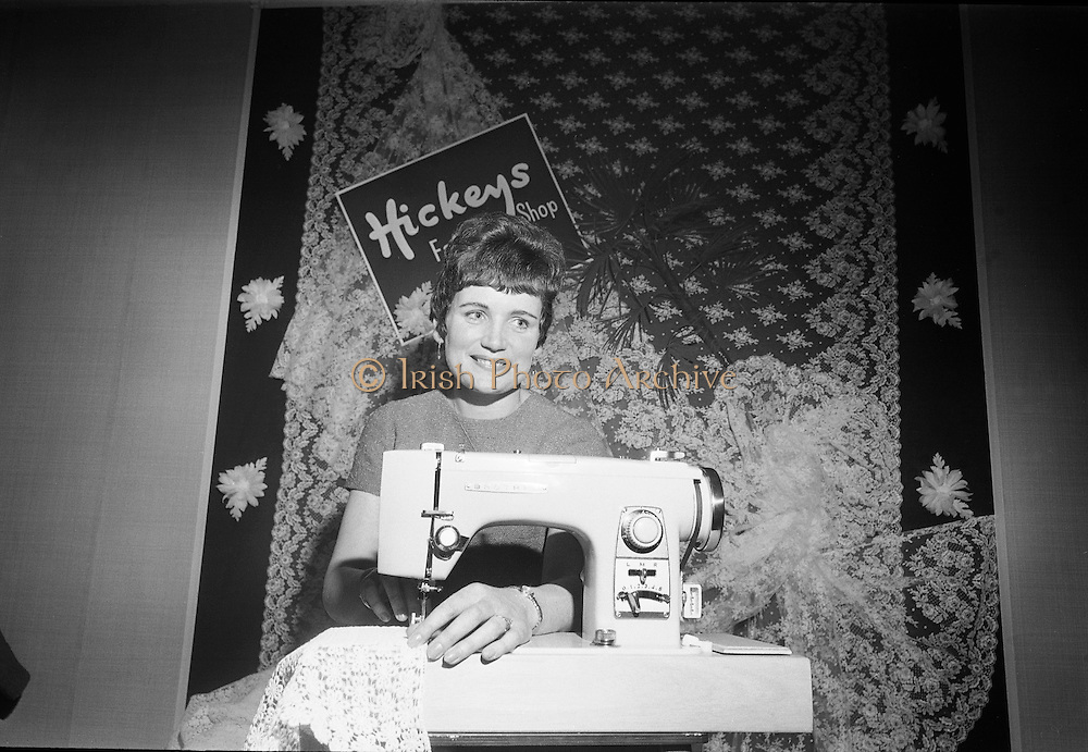 Miss Brigid Flynn, from Fenagh, Co Leitrim, tries out the new Brother sewing machine which she won as part of her prize for being Bride of the Year 1967. .17.05.1968