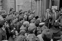 Jack Taylor Yorkshire Area NUM President, with Owen Briscoe Yorkshire Area General Secretary, announces the Area Council's decision to strike in support of Cortonwood from the last shift on 9 March 1984 . Miners Offices Barnsley 05/03/1984