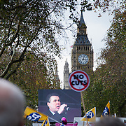 Mark Serwotka from the PCSU trade union finishing of the march with a rallying cry for more actions against the Government's cuts. End of the march, Embankment. Numerous trade unions in the public sector called for a day of strike and in that connection marched in London against the Government's pension cuts. Most schools in Scotland were shut and more than half of all schools in England were shut for the day . Many nurses, doctors and health workers went on strike in protests against the Government's austerity measures.