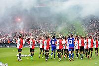ROTTERDAM - Eerste training van Feyenoord , voetbal , seizoen 2015-2016 , Stadion De Kuip , 28-06-2015 , Speler lopen een warming up met steun van de supporters