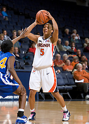 Virginia guard Sharnee Zoll (5) in action against Morehead State.  The Virginia Cavaliers women's basketball team defeated the Morehead State Eagles 88-43 at the John Paul Jones Arena in Charlottesville, VA on February 4, 2008.