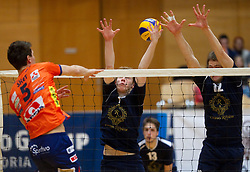 Alen Sket of ACH vs Matija Jereb and Jernej Stavbar of Kropa during volleyball match between ACH Volley and UKO Kropa at Finals of Slovenian Cup 2010, on December 21, 2010 in Dvorana OS, Nova Gorica, Slovenia. ACH Volley defeated Kropa 3-0 and become Slovenian Cup Champion. (Photo By Vid Ponikvar / Sportida.com)