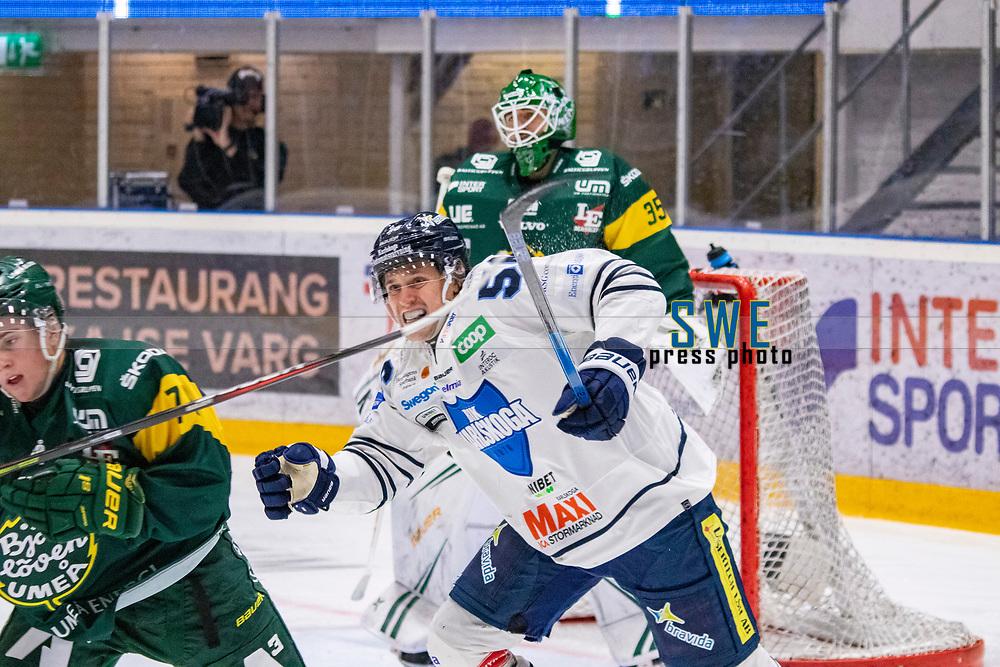 2019-10-09 | Umeå, Sweden:BIK 56 Fredrik Forsberg choing hockeystick in  HockeyAllsvenskan during the game  between Björklöven and Karlskoga at A3 Arena ( Photo by: Michael Lundström | Swe Press Photo )<br /> <br /> Keywords: Umeå, Hockey, HockeyAllsvenskan, A3 Arena, Björklöven, Karlskoga, bk191009