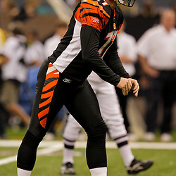 2009 August 14: Cincinnati Bengals PK Shayne Graham (17) lines up for a field goal attempt during a preseason opener between the Cincinnati Bengals and the New Orleans Saints at the Louisiana Superdome in New Orleans, Louisiana.