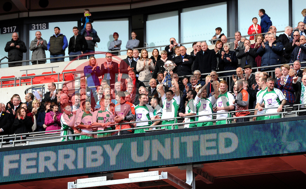 North Ferriby United players celebrate their FA Trophy Final victory - Photo mandatory by-line: Paul Knight/JMP - Mobile: 07966 386802 - 29/03/2015 - SPORT - Football - London - Wembley Stadium - North Ferriby United v Wrexham - FA Trophy