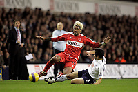 Photo: Marc Atkins.<br /> Tottenham Hotspur v Middlesbrough. The Barclays Premiership. 05/12/2006. Abel Xavier (L) of Boro in action with Young-Pyo Lee of Spurs.