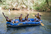 Israel, Upper Galilee, Hazbani River (AKA Snir River) a tributary of the Jordan river Rafting in the flowing water