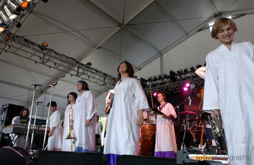 Manchester, TN.  2003 Bonnaroo Music Festival. The Polyphonic Spree performs at Bonnaroo 2003. Mandatory Credit: Bryan Rinnert/3Sight Photography.