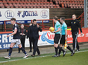 17th February 2018, Firhill Stadium, Glasgow, Scotland; Scottish Premier League Football, Partick Thistle versus Dundee; Dundee manager Neil McCann rages at referee Willie Collum at half time
