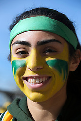 A's fan Meah Martinez of Fremont, Calif. shows her team colors during Oakland Athletics FanFest at Jack London Square on Saturday, Jan. 27, 2018 in Oakland, Calif. (D. Ross Cameron/SF Chronicle)