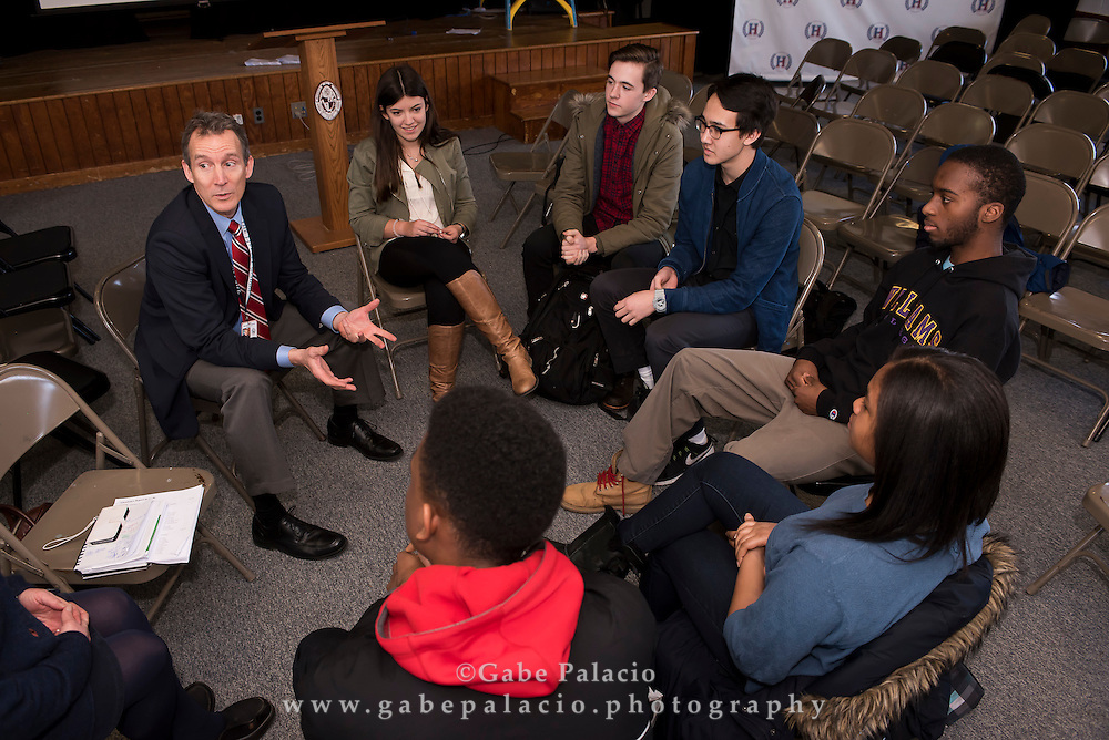 Bill Knauer, the incoming headmaster, visits with students and faculty at the Harvey School on February 18, 2016. (photo by Gabe Palacio)