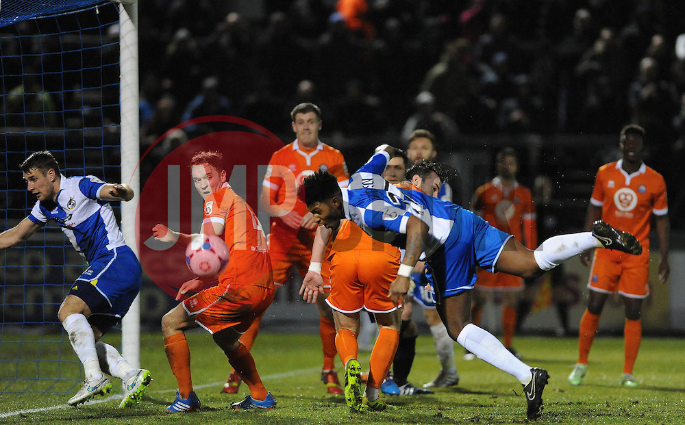 Bristol Rovers' Ellis Harrison heads wide - Photo mandatory by-line: Neil Brookman/JMP - Mobile: 07966 386802 - 24/02/2015 - SPORT - Football - Bristol - Memorial Stadium - Bristol Rovers v Braintree - Vanarama Football Conference