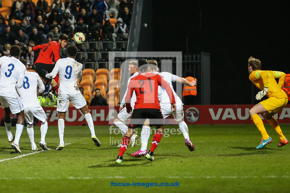 Diego Alberto Gama Garcia of Mexico U20 rises above the England U20 defence to head goalwards during the International Friendly match at The Hive Stadium, Harrow<br /> Picture by David Horn/Focus Images Ltd +44 7545 970036<br /> 25/03/2015