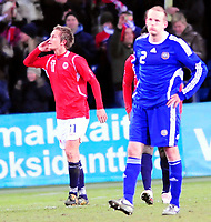Fotball Privat Landskamp 01.04.2009<br /> Ullevaal Stadium <br /> Norge vs Finland<br /> Norway vs Soumi<br /> <br /> Result  3 -2<br /> <br /> Foto: Jarl Robert Christensen Digitalsport<br /> <br /> Norge Norway målscorer nr 3 Morten Gams Pedersen jubler <br /> <br /> Finland Soumi deppet Petri Pasanen