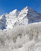 Fresh snowfall at the Maroon Bells on the last day of October. Visit the Colorado Fourteener Gallery to see more images of the Maroon Bells.