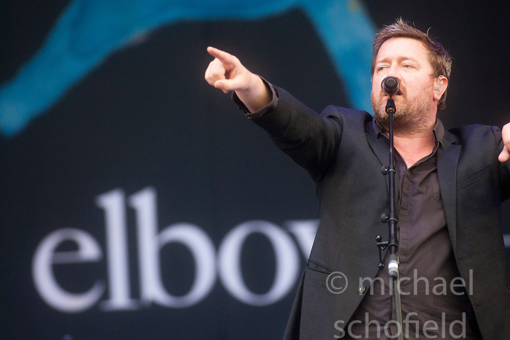Guy Garvey of Elbow, play the main stage on Sunday at T in the Park 2012, held at Balado, in Fife, Scotland.