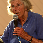 YARMOUTH, Maine -- July 26, 2019 -- Mildred Kenney from Cousins Island presented stories of life on Cousins Island before the bridge was built at the Cousins Island Chapel this evening. Lee Dionne followed with more stories of Cousins Island and Bob Gifford shared stories and photos from Littlejohn Island. Guests filled the chapel to standing room only. Photo by Roger S. Duncan  207-443-9665 http://www.rogerduncanphoto.com