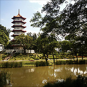 APRIL 13, 2013 — SINGAPORE: The 7-storey Pagoda at the Chinese Gardens. Architectural features are integrated in the environment.