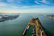 Nederland, Zuid-Holland, Rotterdam, 18-02-2015;  Scheurhaven aan het eind van de Landtong Rozenburg met sleepboten en andere boten Havenbedrijf Rotterdam. Links Europoort met Calandkanaal, rechts Hoek van Holland en Nieuwe Waterweg. Maasvlakte I en II aan de horizon, Maasgeul en Maasmond.<br /> Scheurhaven with tugs and other boats Port Authority. Europoort and Calandkanaal Hook of Holland and New Waterway. Maasvlakte I and II on the horizon, Maas estuary.<br /> luchtfoto (toeslag op standard tarieven);<br /> aerial photo (additional fee required);<br /> copyright foto/photo Siebe Swart