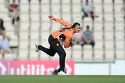 Suzie Bates of Southern Vipers bowling during the Women's Cricket Super League match between Southern Vipers and Yorkshire Diamonds at the Ageas Bowl, Southampton, United Kingdom on 8 August 2018.
