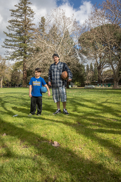 Cafe Sarafornia cook Christian Gutierez is headed to Calistoga Elementary School to play basketball with his eight year old buddy, Diego.
