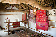 Woven wall hangings in a traditional Indian house at the Shilpgram Craftsmen's Village, Udaipur, Rajasthan, India