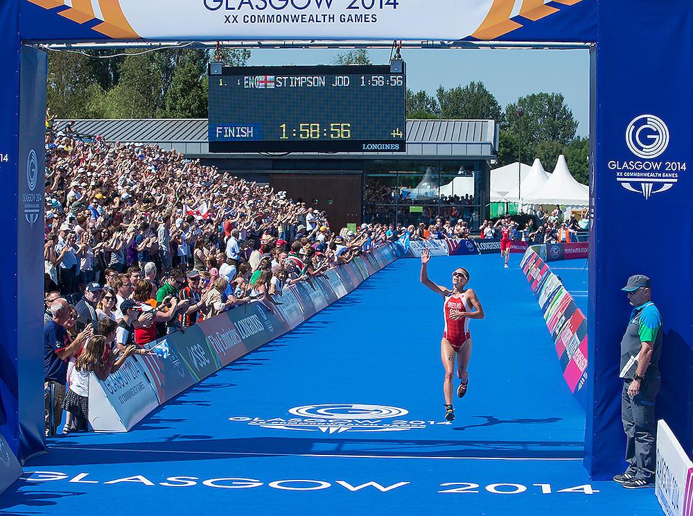 Glasgow, JULY 24, 2014: Triathlon - women's. Kirsten Sweetland (6) Silver medalist; Sarah-Anne Brault (11); Ellen Pennock (16)